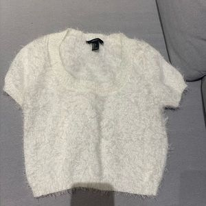 Fuzzy white sweater crop top - Forever 21